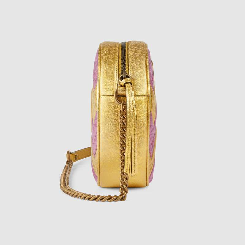 4aac2c9cf69 Gucci Gg Marmont Mini Round Shoulder Bag In Pink Gold Metallic Leather