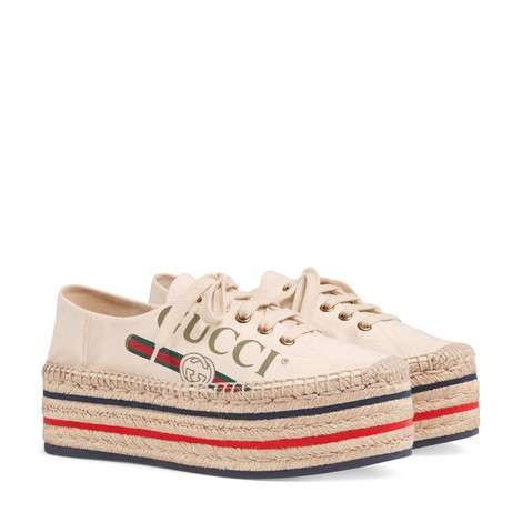 Gucci标识厚底草编鞋