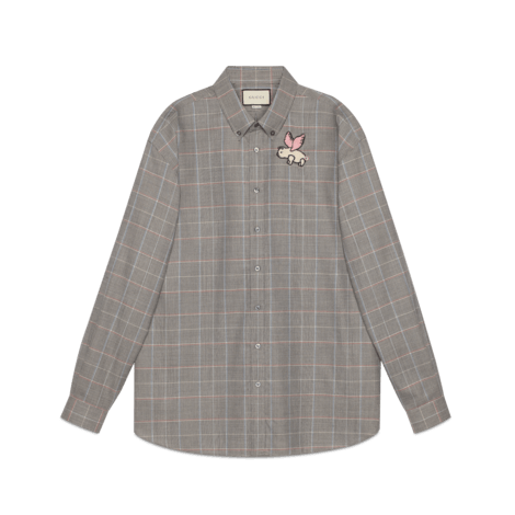 饰贴饰超大造型羊毛衬衫