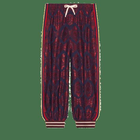 哈伦裤风格双材质长裤