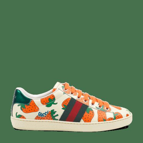Ace系列Gucci草莓印花皮革运动鞋