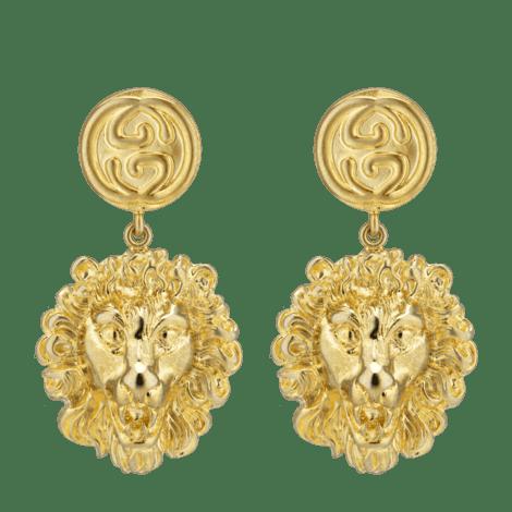 金属狮头耳环