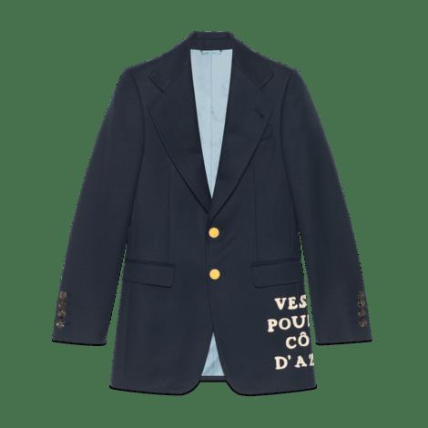 贴花羊毛斜纹夹克