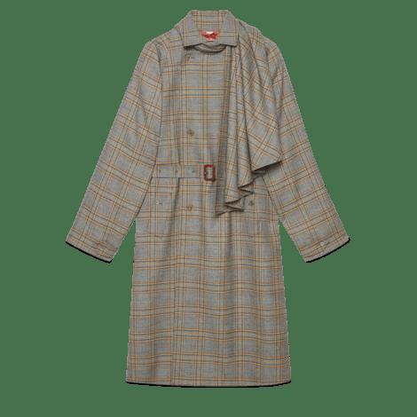饰可拆卸领巾羊毛大衣