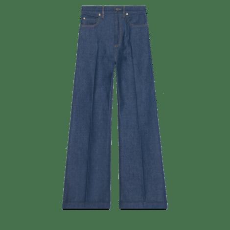 水洗喇叭牛仔裤