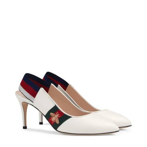 皮革条纹织带中跟后系带浅口鞋