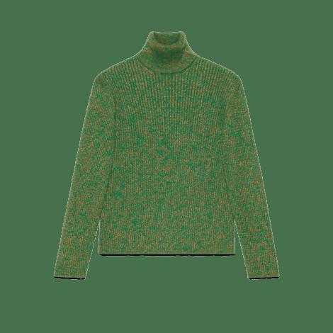 绞花针织棉金银丝线高领衫