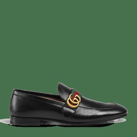 饰GG条纹织带皮革乐福鞋
