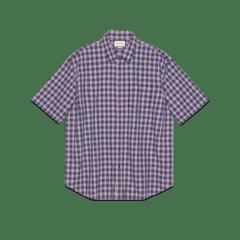 超大造型格纹棉衬衫