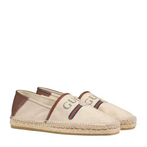 Gucci标识帆布草编鞋