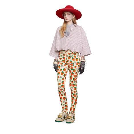 Gucci草莓印花紧身裤