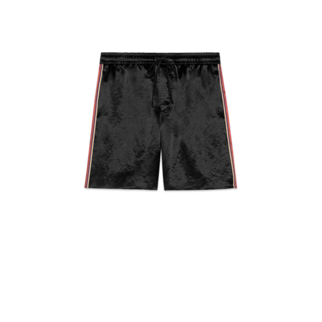 双材质印花短裤