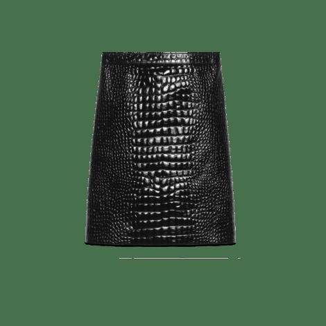 鳄鱼纹印花皮革铅笔裙