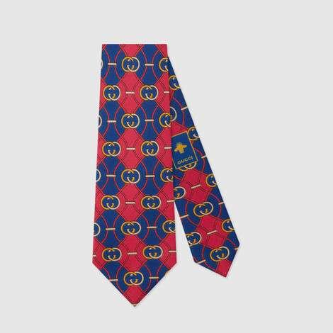 互扣式G菱形印花真丝领带