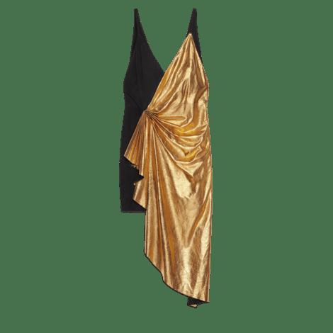 金属质感皮革不对称迷你连衣裙