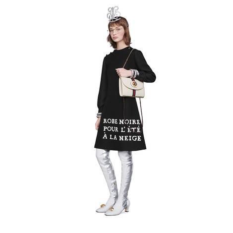 印花羊毛真丝连衣裙
