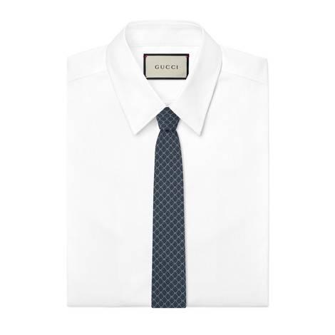 GG 和菱形图案真丝领带