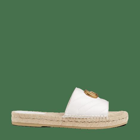 皮革草编凉鞋