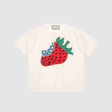 饰草莓超大造型棉质T恤