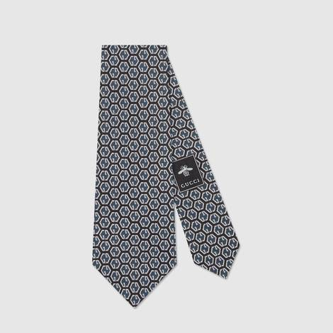 GG 菱形印花真丝领带