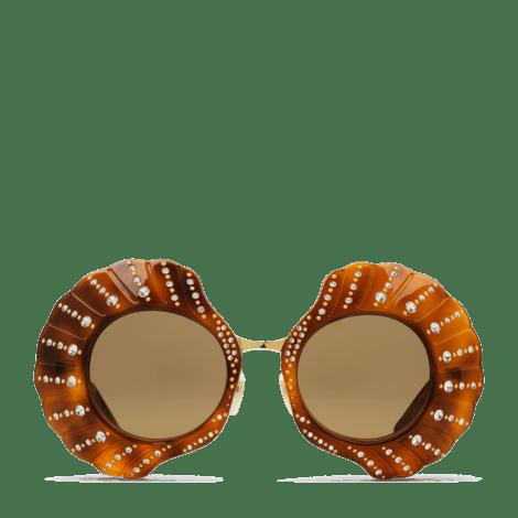 饰水晶限量圆形镜框太阳眼镜