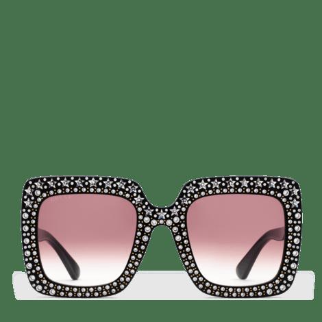 饰水晶超大造型方形镜框太阳眼镜
