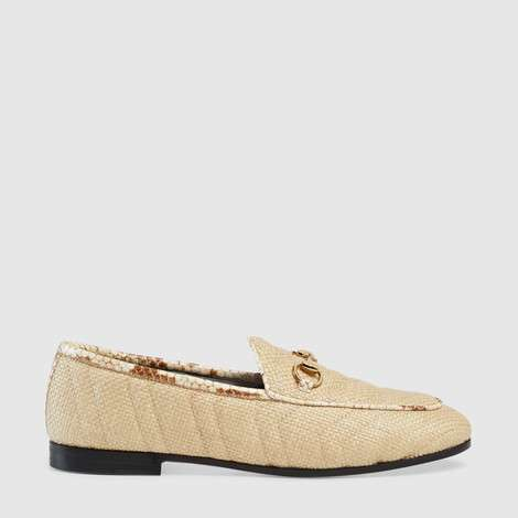 Gucci Jordaan系列女士 V 型拉菲草乐福鞋