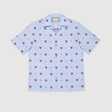 虎头和标志性符号图案切丝衬衫