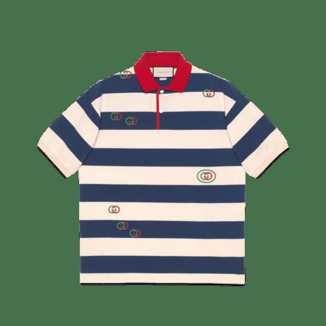 刺绣条纹针织 Polo 衫