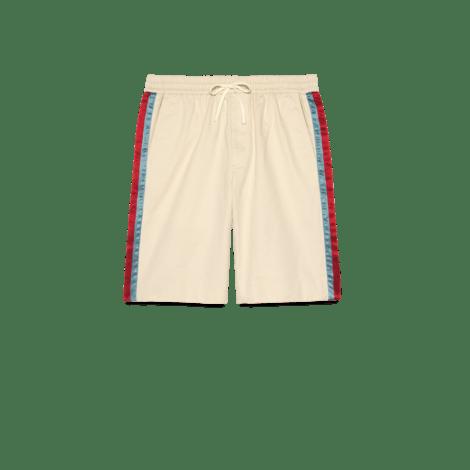 醋纤条纹斜纹棉短裤