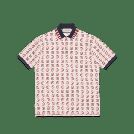 饰互扣式 G 印花超大造型 Polo 衫