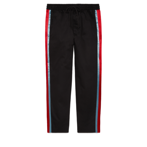醋纤条纹斜纹棉长裤