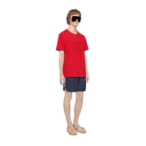 标志条纹尼龙泳裤