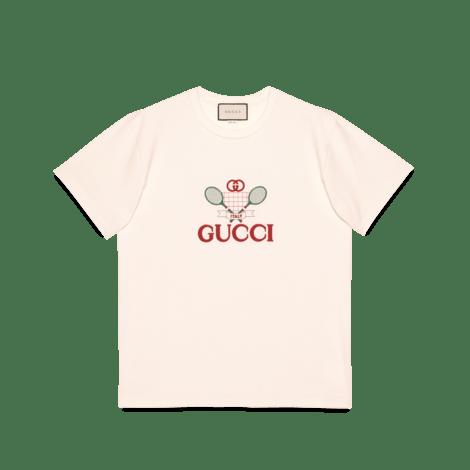 Gucci 网球印花超大造型 T 恤