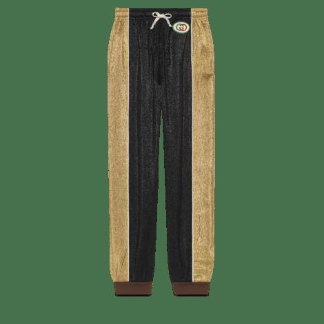 哈伦裤风格绉绸金银丝线长裤