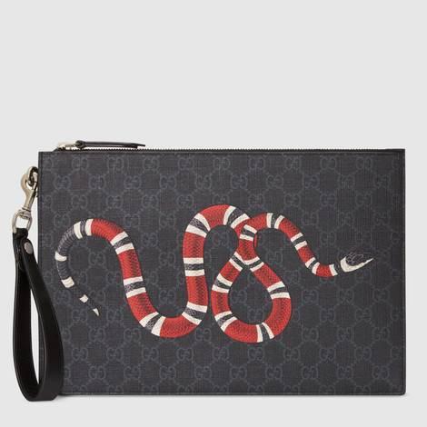 GG 珊瑚蛇印花手拿包