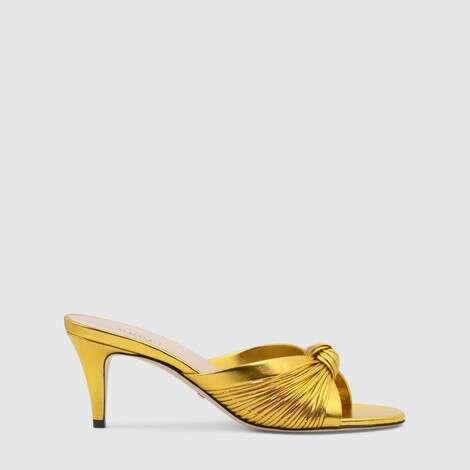 金属质感皮革中跟凉鞋