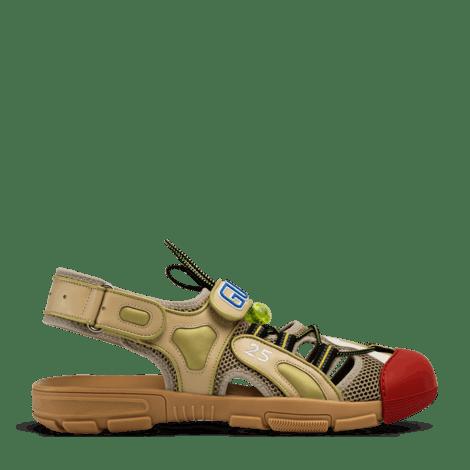 男士皮革网纱凉鞋