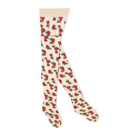 Gucci草莓和马衔扣印花连裤袜
