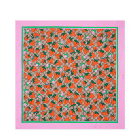 GG和Gucci草莓印花方巾