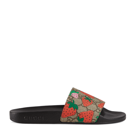 GG和Gucci草莓印花拖鞋