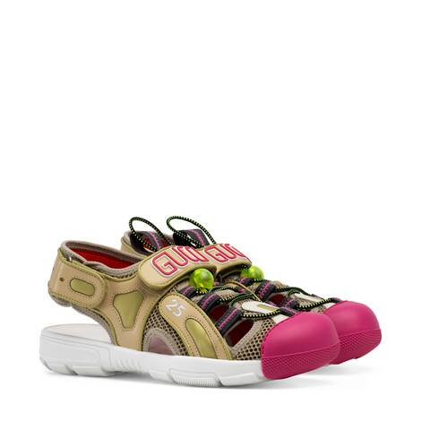 女士皮革网纱凉鞋