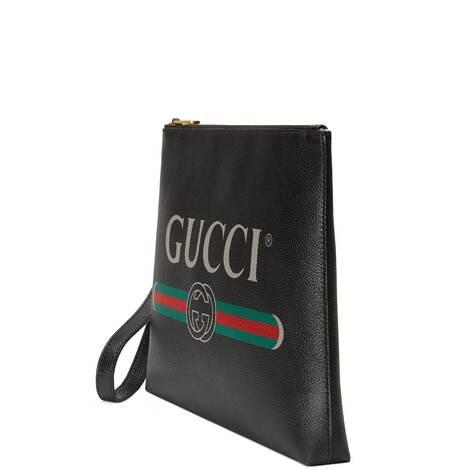 Gucci Print系列皮革手拿包
