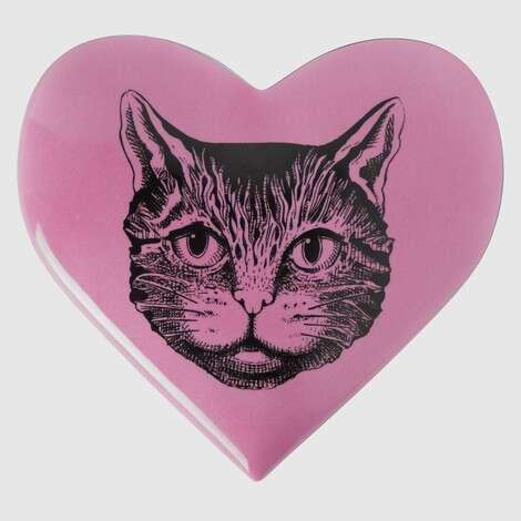 Mystic Cat印花心形收纳盒