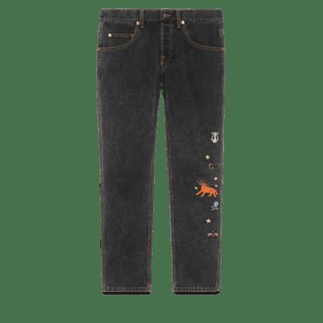 刺绣锥形牛仔裤