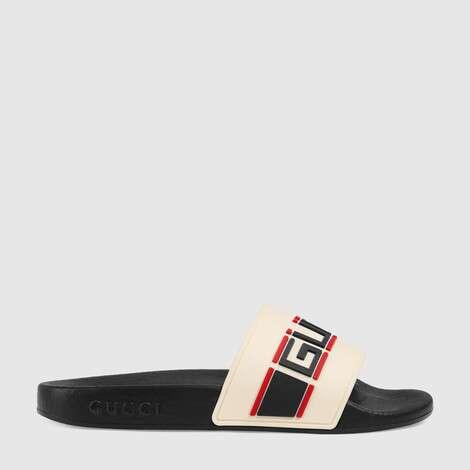 儿童 Gucci 条纹橡胶凉拖鞋