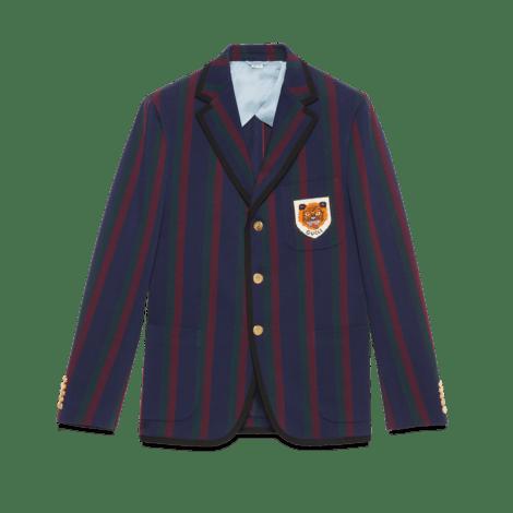 饰贴饰条纹棉质夹克