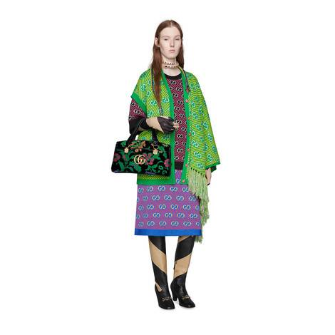 GG 条纹羊毛提花半身裙