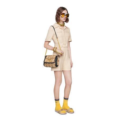 饰腰带羊毛真丝混纺连体裤