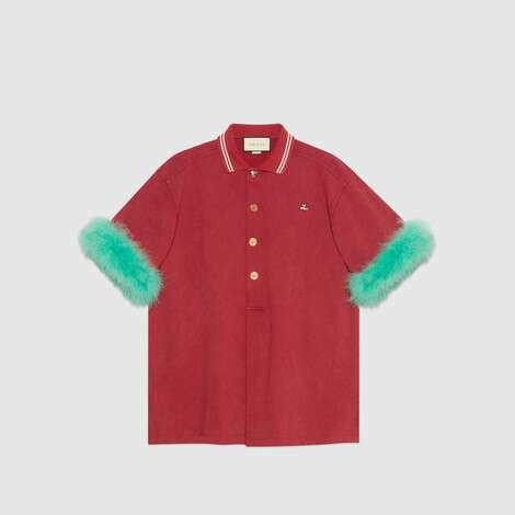 饰羽毛超大造型棉质 Polo 衫
